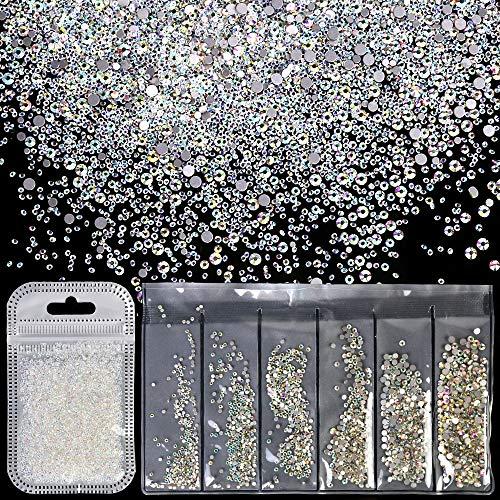 Teenitor Nail Rhinestones Including 5000pcs MINI 1.2mm Micro Sand Rhinestones & 1728pcs Swarovski-Like Nail Gems Iridescent Sparkling Flat Back Crystal Ab Nail Diamonds For Nail Art Jewelry Craft