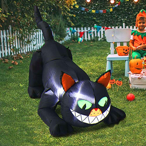 Wooden Halloween Yard Decorations - MAOYUE Halloween Inflatable Black Cat, 4.3