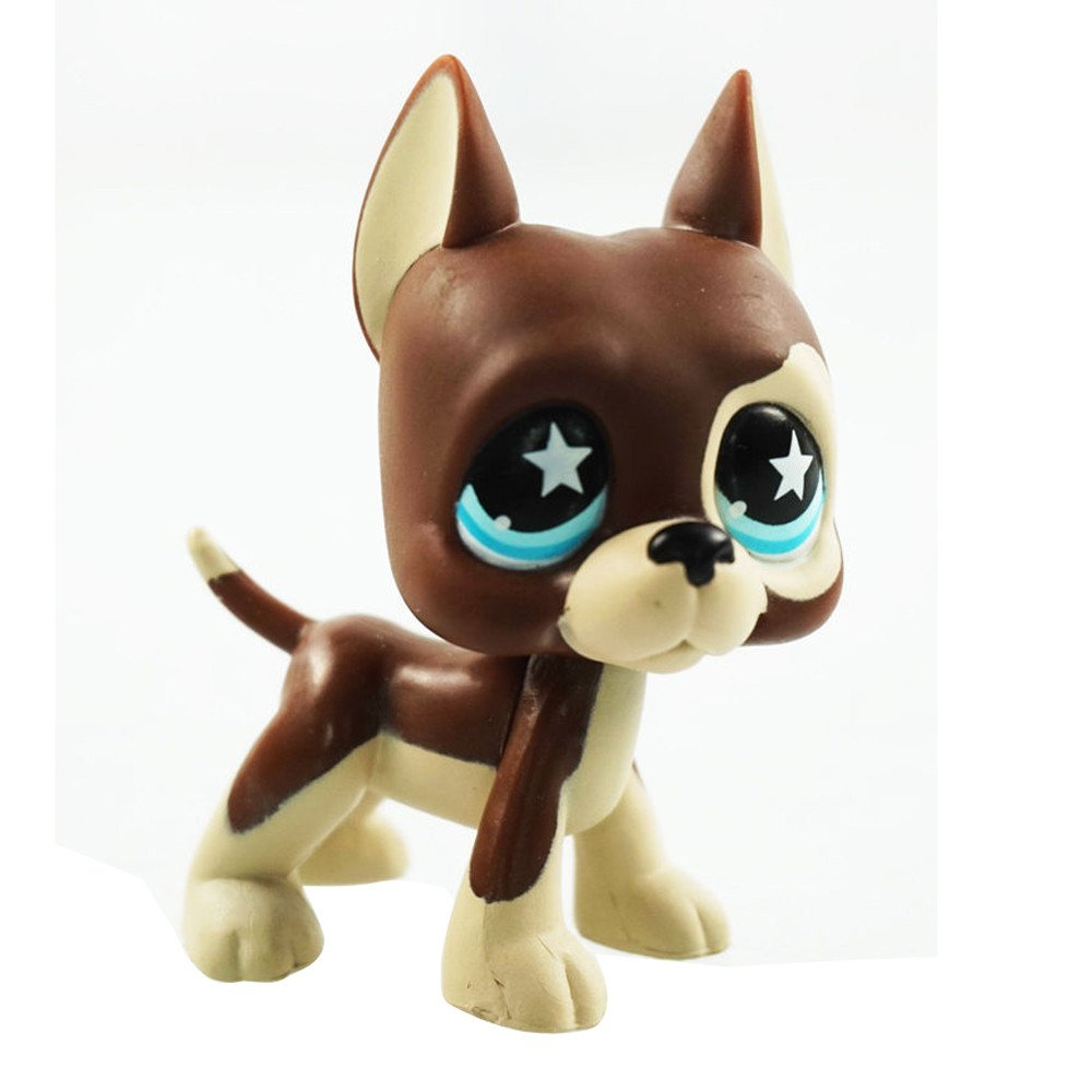 Pet Shop Great Dane Dog Puppy Brown Chocolate Star Blue Eyes LPS #817 Family Friends Doll crossed3_Pet toy store