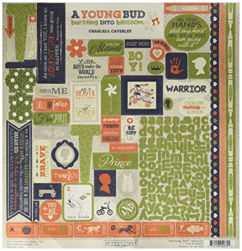Authentique Paper Darling Boy Cardstock Stickers 12