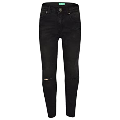 2ab0ca4fd10 Amazon.com  Girls Stretchy Jeans Kids Black Denim Ripped Pants Frayed  Trousers Age 5-13 Year  Clothing