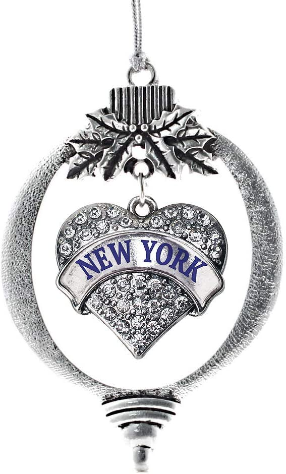 Inspired Silver - New York Charm Ornament - Silver Pave Heart Charm Holiday Ornaments with Cubic Zirconia Jewelry