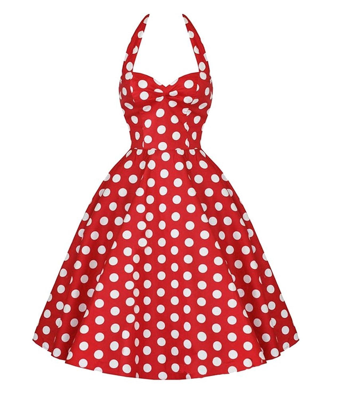 Brinny Neckholder Rockabilly 50er Polka Dots Punkte Kleid Petticoat Faltenrock
