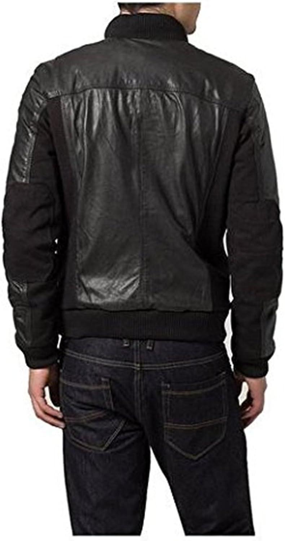 New Mens Leather Jacket Slim Fit Biker Motorcycle Genuine Cow Jacket LTC841 XXL Black