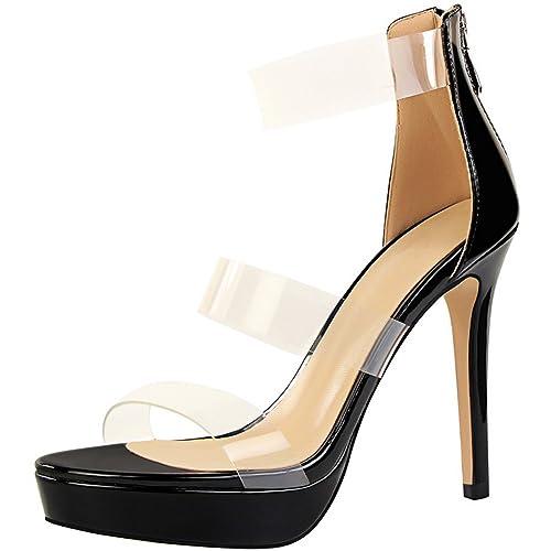 480148954770b Plataforma Stiletto Mujer Boda Sandalias Charol Peep Toe Tacones altos  Zapatos De BIGTREE  Amazon.es  Zapatos y complementos