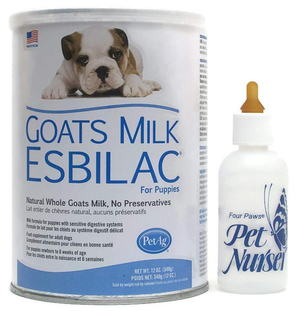 Esbilac Goats Milk Replacement Powder 12 oz Puppies Four Paws Pet Nurser Bottle Bundle by PetAg