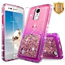 LG K20 Plus Case, LG K20 V Case, LG K20V Case (Verizon) with [Tempered Glass Screen Protector], NageBee Quicksand Liquid Floating Glitter Flowing Sparkle Bling Diamond Luxury Grip Case -Pink/Purple
