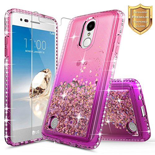 LG Fortune Case (M150 M153 Cricket), Risio 2 (M154) / Rebel 2 / K4 2017 (L58VL) w/ [Tempered Glass Screen Protector], NageBee Quicksand Liquid Floating Glitter Flowing Bling Diamond Case -Pink/Purple