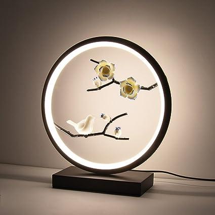 KMYX Nuevo estilo chino lámpara de mesa clásica flores aves ...