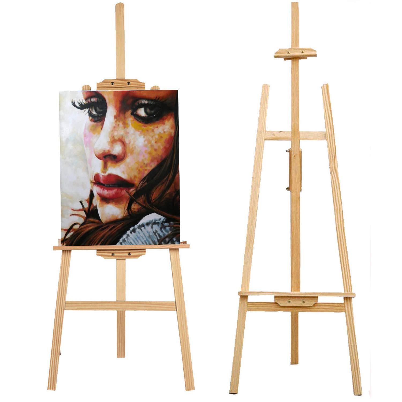 Caballete de 1,75 estudio duradero de 1,75 de m, madera de pino resistente, soporte de lona con barra móvil para pintar, dibujar, exhibir 390269