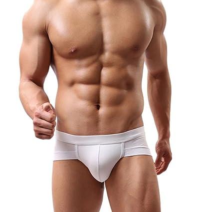 Calzoncillos para hombres Sexy Raya Algodón Suave Impresión Respirable Transparente Estuche abultado talle bajo Calzoncillos boxer