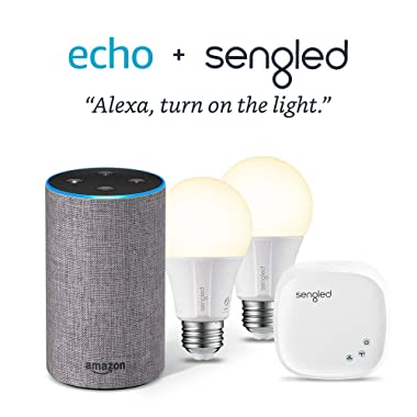 Echo (2nd Generation) - Heather Gray Fabric with 2 Smart Bulb Kit by Sengled