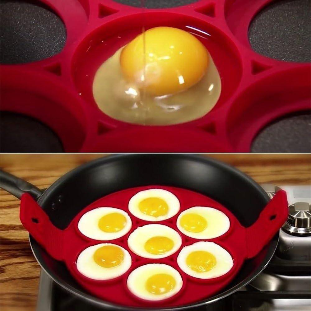 ETHAN 4 Agujeros Antiadherente Pancake Maker Silicona Fre/ír Huevos Molde Flor Estrella Redonda Forma de coraz/ón Anillo Huevo Accesorios Cocina A