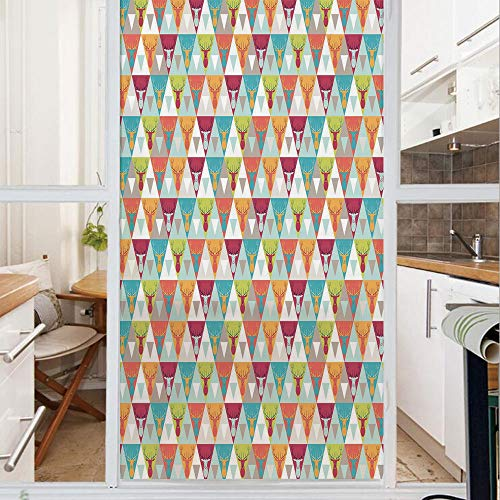 Decorative Window Film,No Glue Frosted Privacy Film,Stained Glass Door Film,Triangles Pattern with Deer Elk Portraits Geometric Colorful Funky Hipster Tile Urban Decorative,for Home & Office,23.6In. b