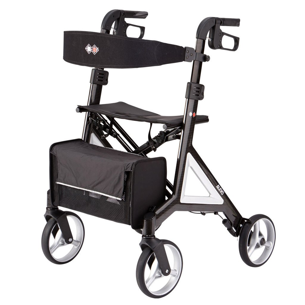 Designed by Porsche Design Studio B+B Alevo Carbon Walker Rollator foldable and with comfort seat