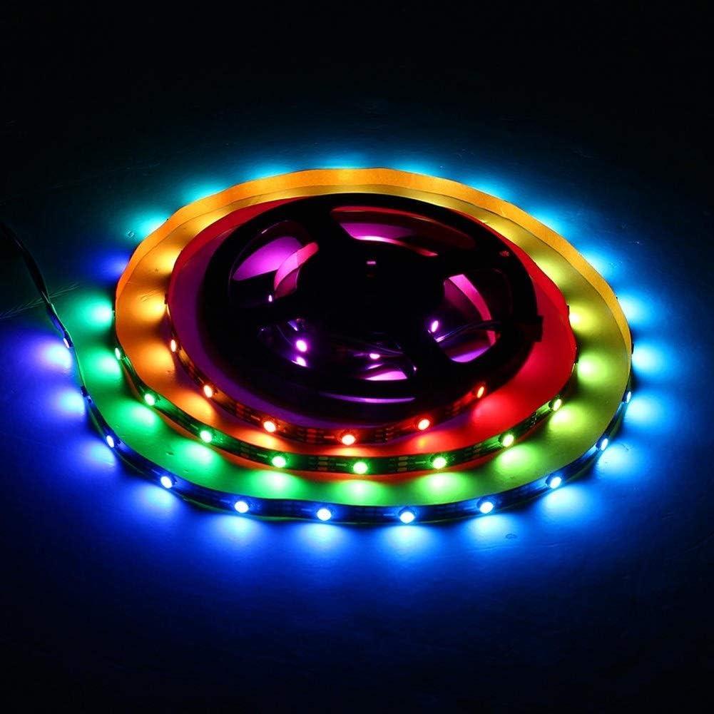 Yuxinmaoyigongsi Iluminación LED Strip 1M 2M 6W 12W IP20 No-impermeable Módulo Bead de inclinación 45 ° tira del RGB LED DC Light 5V WS2812 IC SMD 5050 (tamaño : 1M) 1m