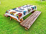 Lunarable Camper Outdoor Tablecloth, You Make Me Happy Camper Motivational Quote with Caravans Retro Style Travel Graphic, Decorative Washable Picnic Table Cloth, 58 X 84 Inches, Multi
