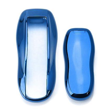 ijdmtoy cromo acabado azul llavero, protectora de Tpu caso ...