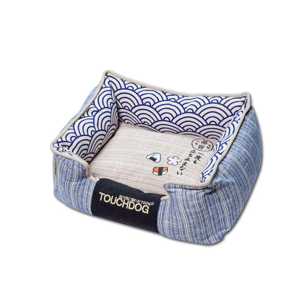 bluee 65CM bluee 65CM JSSFQK Kennel Small Fresh Style Pet Bed Full Removable Cat Litter Non-slip Pet Mat, bluee Pink pet bed (color   bluee, Size   65CM)