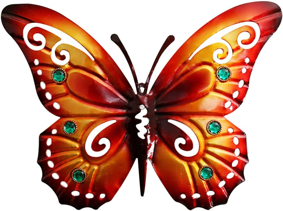 Yarnow Mariposa Arte de La Pared Metal 3D Mariposa Colgador de Pared Decoraciones Colgantes Vintage Mariposa Manualidades para La Decoración del Jardín del Hogar (Naranja)