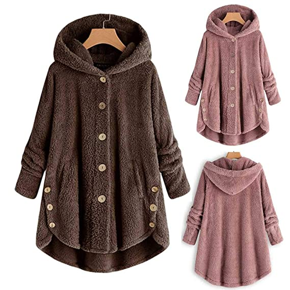 Amazon.com: Fashion Women Button Coat Fluffy Tail Tops Hooded Pullover Loose Sweater Blouse: Clothing