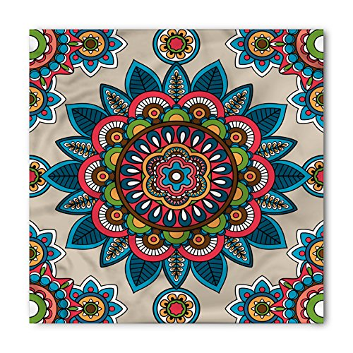 Mandala Bandana by Lunarable, Retro Turkish with Unique Leaf Flower Figures Meditation Ritual Tribal Art Print, Printed Unisex Bandana Head and Neck Tie Scarf Headband, 22 X 22 Inches, Multicolor
