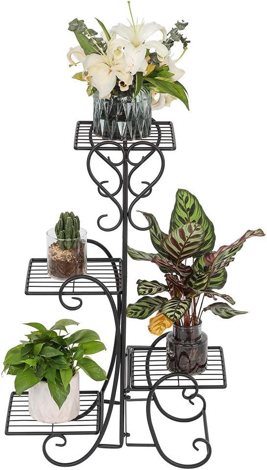 Pocooyo Metal Plant Stand Flower Holder, 4 Potted Rounded Flower Metal Shelves Plant Pot Stand, Planter Rack Organizer Decoration Indoor Outdoor Garden (Black-Square)