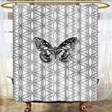 Mikihome Shower Curtains Fabric Butter on Sacred Fragments Spiritual Trendy Grey White Bathroom