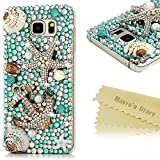 Note 5 Case,Samsung Galaxy Note 5 Case - Mavis's Diary 3D Handmade Luxury Blue Ocean Series Full Diamonds Bling Crystal Golden Anchor Starfish Cute Shells Design Clear Case Hard PC Cover