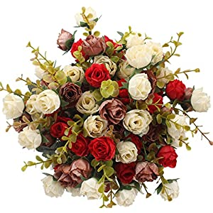 Duovlo 7 Branch 21 Heads Artificial Flowers Bouquet Mini Rose Wedding Home Office Decor,Pack of 4 (Red) 44