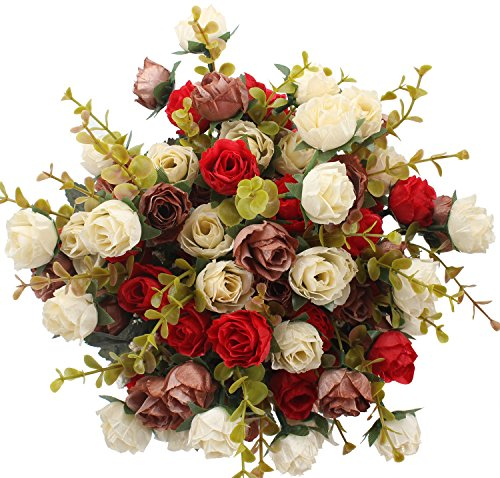 Duovlo 7 Branch 21 Heads Artificial Silk Fake Flowers Rose Wedding Floral Decor Bouquet,Pack of 2 (Red Coffee)