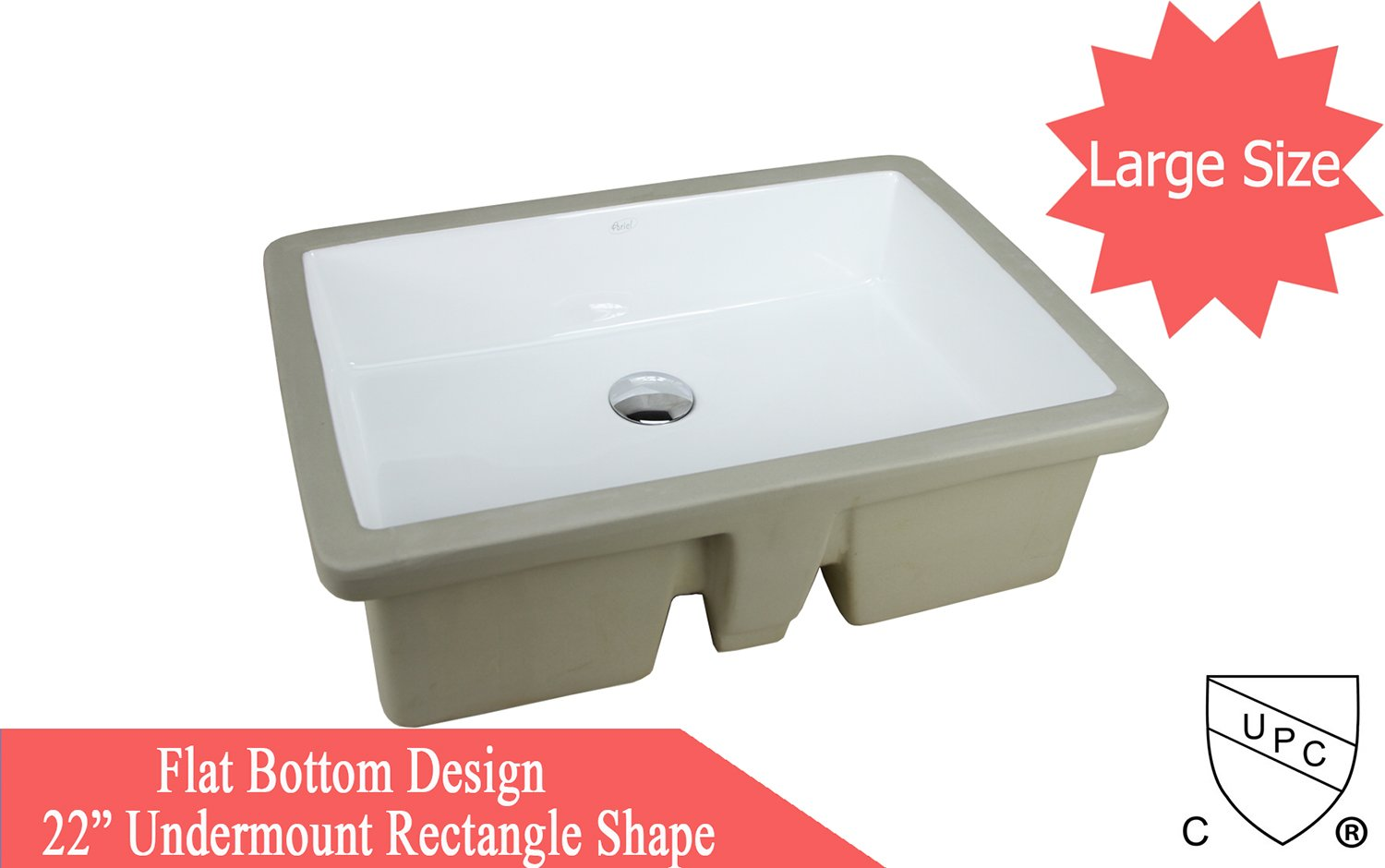 LARGE 22 Inch Rectrangle Undermount Vitreous Ceramic Lavatory Vanity Bathroom Sink Pure White RP595P