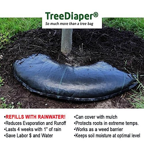 Irrigation System Trees - Smart Tree Watering Bag - AUTO REFILLS WITH RAIN and Slow Releases As Plant Needs - New Water Absorption Slow Release Technology Prevents Over and Under Watering - Large Tree Diaper 36