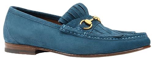 Gucci - Mocasines para Hombre de Ante Azul con Flecos, Azul (Azul), 44 EU: Amazon.es: Zapatos y complementos