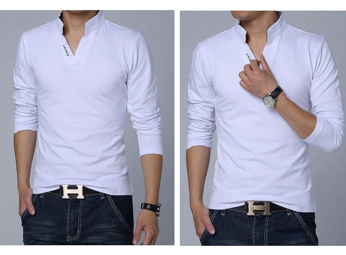 Mens Polo Shirt Long-Sleeve Slim Fit Shirt Men Cotton Casual Shirts 5XL