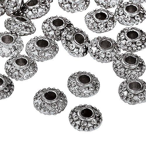 Oriental Metal Bead - Silvertone Metal Scrolled Spacer Beads - 8mm
