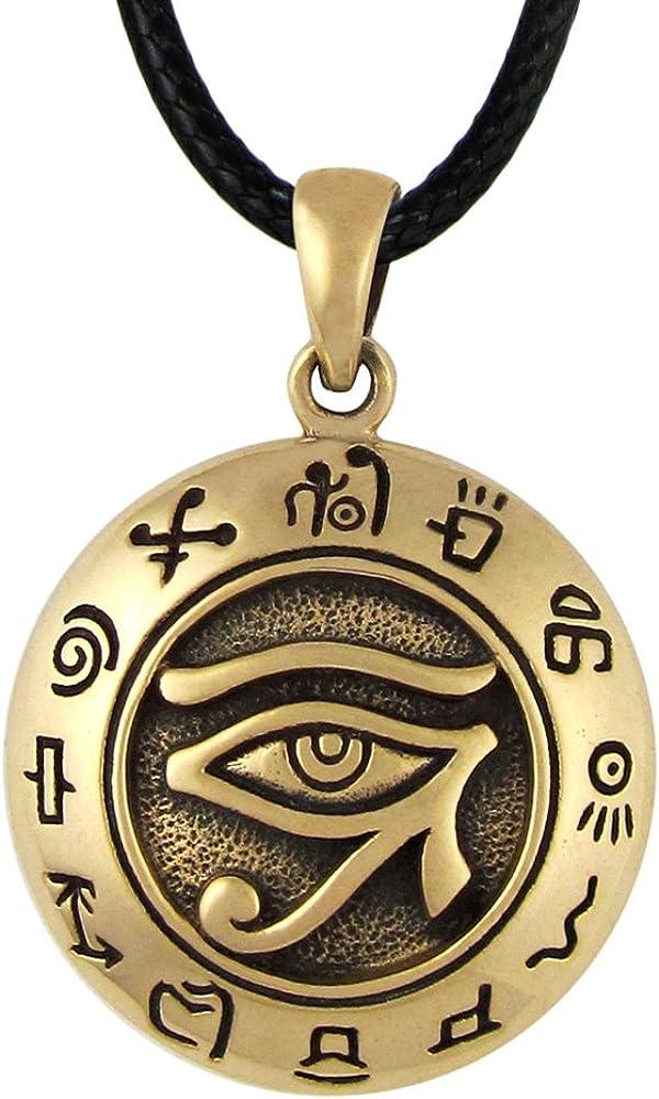 Moonlight Mysteries Bronze Egyptian Udjat Eye of Horus Ra Pendant Necklace