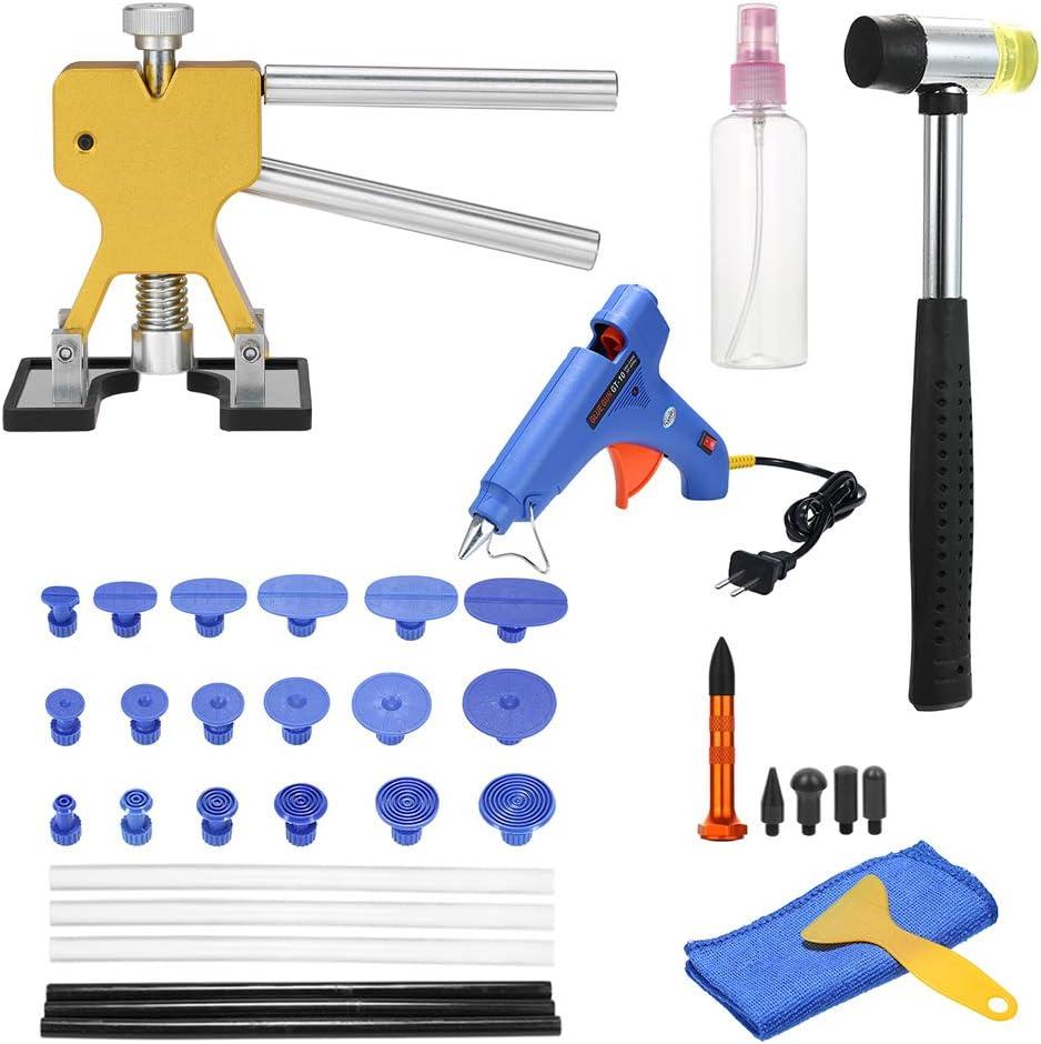 KKmoon 35pcs Dent Repair Kit Herramientas Eliminador de Abolladuras de Carroceria,Herratamientas de Reparacion de Abolladuras y Pistola de Pegamentos para Coche