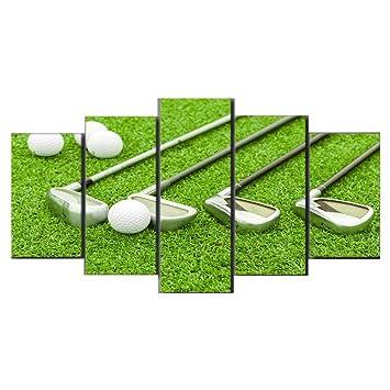 Gbwzz HD impreso 5 piezas lienzo arte campo de golf pintura ...