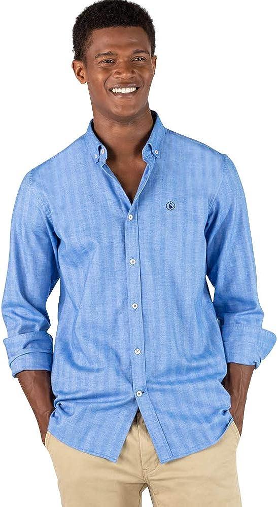 El Ganso - Colección AW19 - Camisa Herringbone de Rayas - para Hombre - Manga Larga - Cuello de Doble Botón