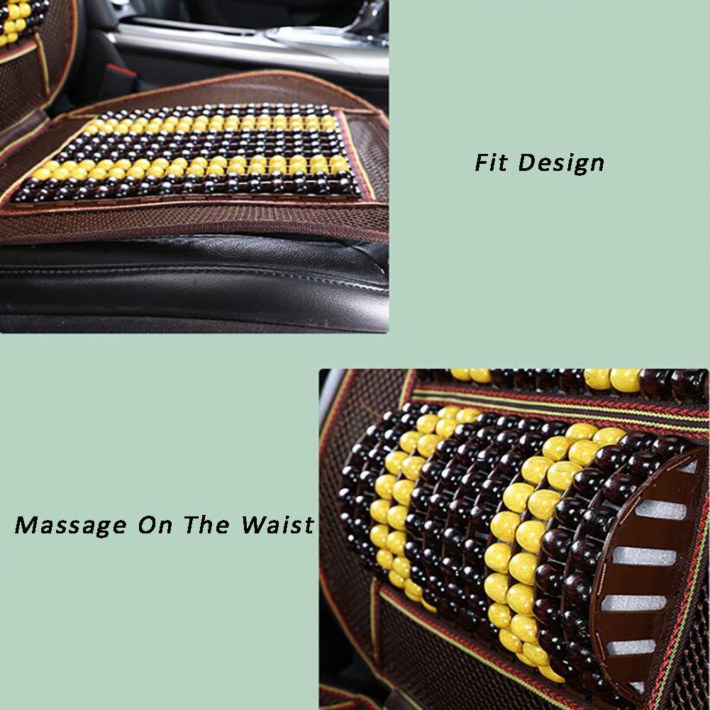 3 Stile FEN/&G Estate Palline in Legno Cuscino del Seggiolino Auto,con Cuscino e Cuscino Lombare Massaggiante Beige
