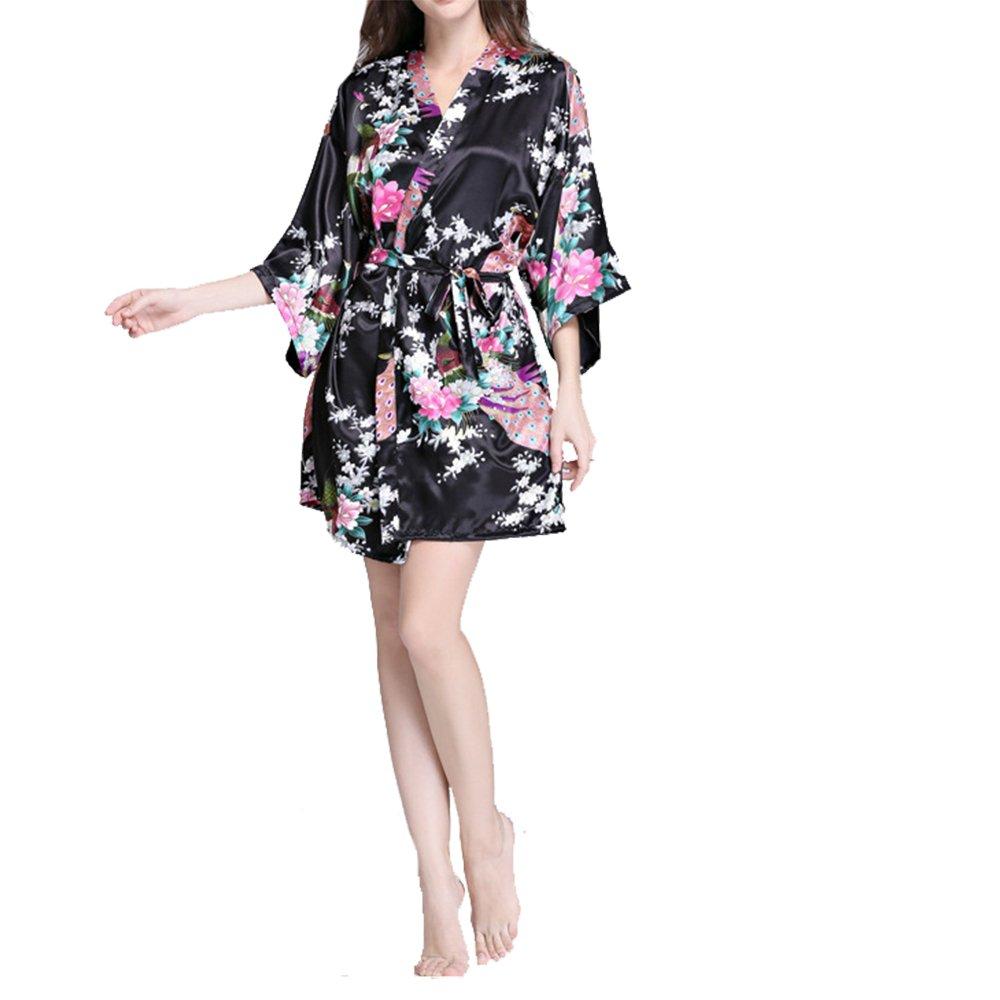 Villavivi Abito Vestito Pigiama Kimono Accappatoio Stampa Pavone Maniche Medie Per Femmine Donna Ragazza