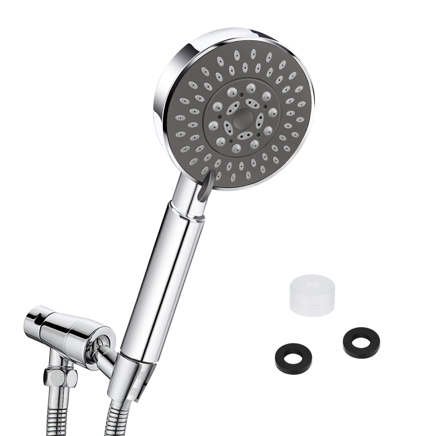 Handheld Shower Head High Pressure, 4 inch Universal Fitting Shower Head with Adjustable 5 Sprays Modes Bath Shower Head Handheld Handset Chrome Luxury Finish with Massage Experience Qhui