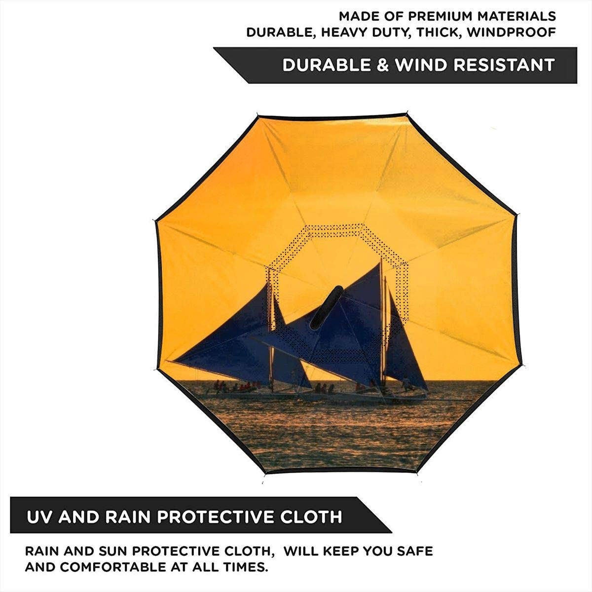 PYFXSALA Sailboat Sunset Windproof Inverted Umbrella Double Layer UV Protection Folding Reverse Umbrella for Car Rain Outdoor Self Stand Upside Down with C-Shaped Handle