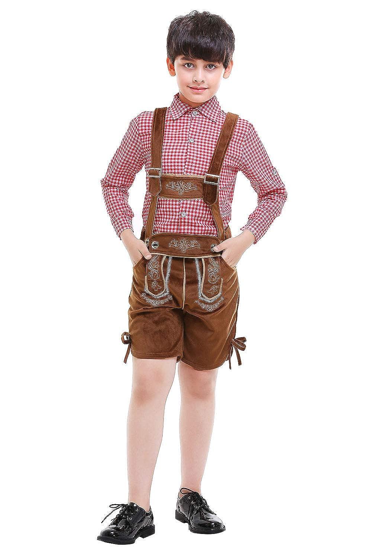 Oktoberfest Costume Bavarian Toddler Kids Uniform Lederhosen Shorts with Shirt and Hat
