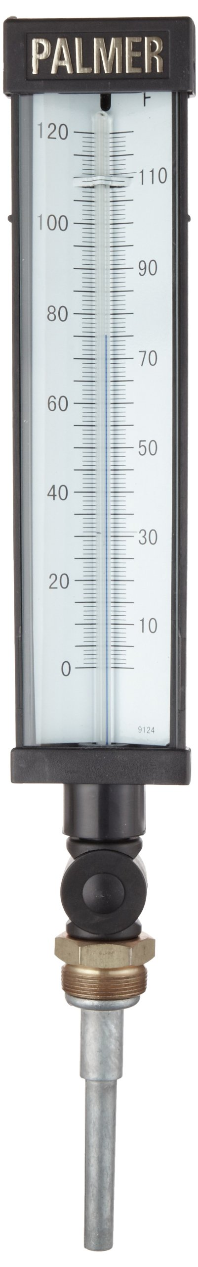 Palmer 9FLSB3.50/120F Plastic Economy Industrial Thermometer, Spirit Fill, 3.5'' Stem, 9'' Scale Case, 0-120 Degrees F Temperature Range
