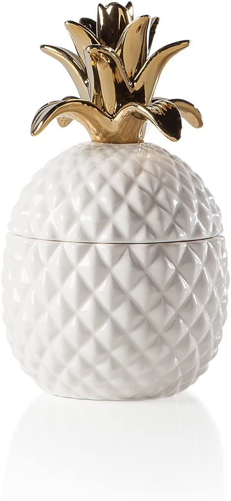 Torre & Tagus Pineapple Crown Ceramic Canister-Short, White/Gold