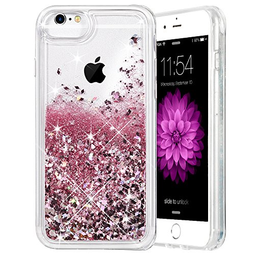 iPhone 6/6S/7/8 Case, Caka iPhone 6S Glitter Case [With Tempered Glass Screen Protector] Bling Flowing Floating Luxury Glitter Sparkle TPU Bumper Liquid Case for iPhone 6/6S/7/8 (4.7