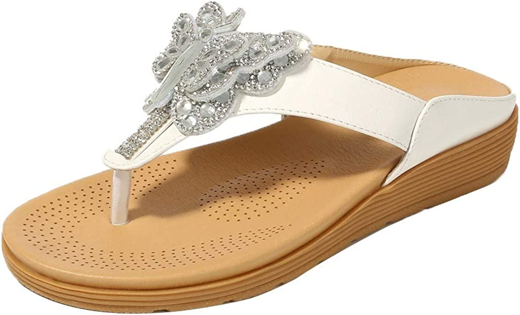 Orangeskycn Women Sandals Summer Rhinestone Butterfly Thick-Bottomed Flip-Flops Shoes Bohemian Casual Non-Slip Beach Slippers