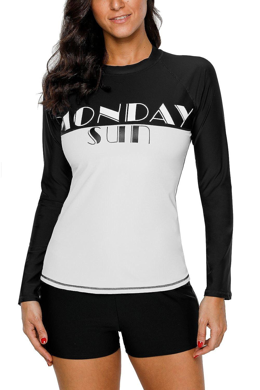 CharmLeaks Women Printed Rash Vest Long Sleeve Rashguard Surf Swim Shirts UPF50+